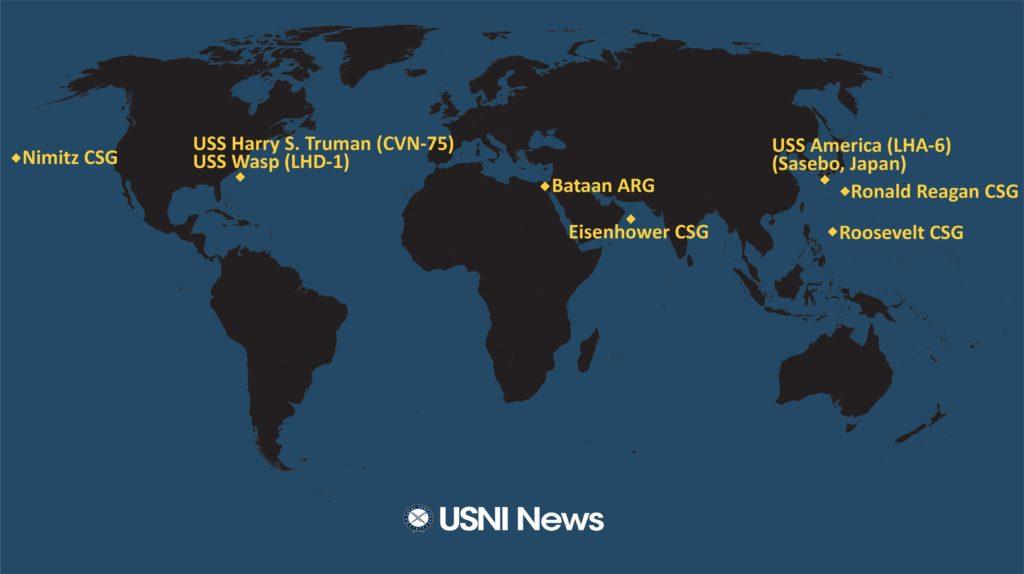 Kort over hvilke amerikanske hangarskibe som er til søs i øjeblikket.